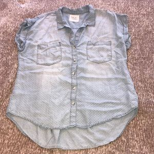Thread & Supply Chambray Button Short Sleeve Top